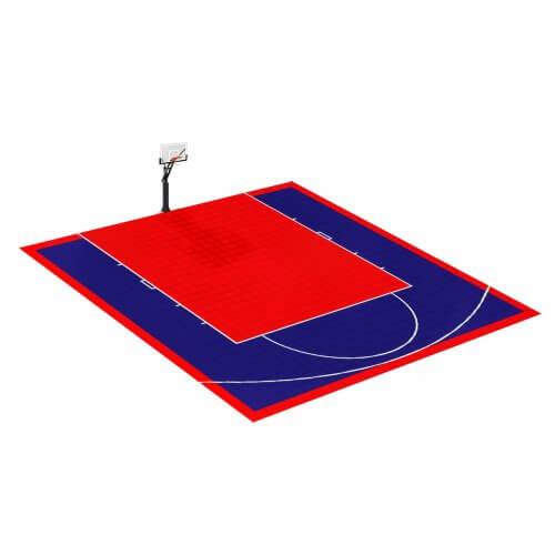Demi-terrain-basket 8x7 Rouge et Bleu