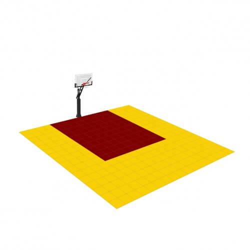 [Déstockage] Demi-terrain de Basketball 4 x 4 M | Bordeaux & Jaune