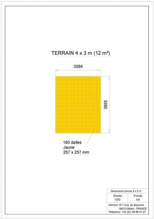 Plan Dalles Terrains Basket - Déstockage - Jaune - 4 x 3
