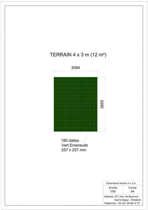Plan Dalles Terrains Basket - Déstockage - Vert Emeraude - 4 x 3