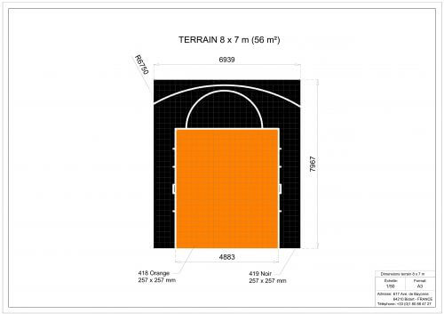 Plan 2D - Terrain de Basketball 8x7 m - Terrain-basket